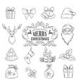 set Christmas hand drawn icons vector image vector image