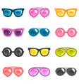 set colorful sunglasses isolated on white vector image