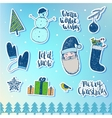 set of Christmas New Year stickers badges vector image