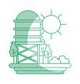 silhouette water tank with trees and sun vector image vector image