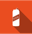 soda can icon isolated with long shadow vector image vector image