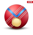Sport gold medal with ribbon for winning of vector image vector image
