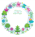 Spring Season Object Icons Wreath Hand Draw Style vector image