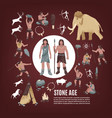 stone age people icons set vector image vector image
