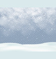 winter christmas background with snowfall with vector image vector image