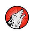 wolf howling side view vector image vector image