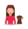 woman cute maker coffee graphic vector image