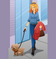 woman walking with her dog vector image vector image