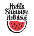 words hello summer holidays with watermelon vector image
