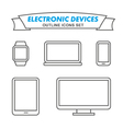Electronic devices outline icons set vector image