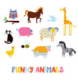Funny animals set - simple design vector image