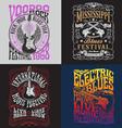 Vintage Rock Poster T-shirt Design Set vector image