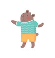 cartoon bear character in striped t-shirt and vector image