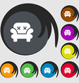 Armchair icon sign Symbols on eight colored vector image