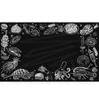 Background seafood on the blackboard vector image vector image
