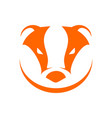badger head orange simple symbol logo design vector image