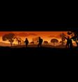 beautiful sunset in savanna landscape vector image