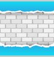 blue torn paper brickwork background vector image