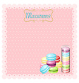Border design with macarons vector image vector image