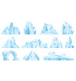 cartoon iceberg drifting arctic glacier or ice vector image vector image