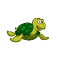 Cartoon swimming sea turtle character vector image