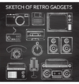 chalkboard retro gadgets vector image