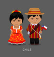 chileans in national dress with a flag vector image vector image