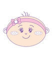 cute baby girl face with ribbon bow in the head vector image