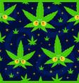 cute funny happy weed marijuana leafs and stars vector image vector image