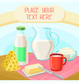 dairy products rural landscape with cow vector image vector image