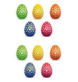easter eggs icon set with floral pattern vector image