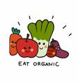 eat organic group vegetable cartoon vector image vector image