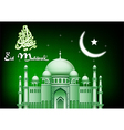 Eid Mubarak moon and star background with mosque vector image vector image