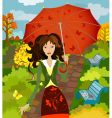 girl fall under the umbrella vector image