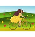 Girl is riding bike on flowering spring field vector image vector image
