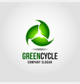 green cycle - nature green leaf with 3d style logo vector image