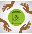 hands together environment trash recycle concept vector image