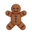 knitted gingerbread man toy on white background vector image