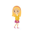 lovely blonde cartoon girl character in yellow vector image