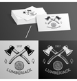 Lumberjack Logo Symbol Hatchet Axe Wood Rings Cut vector image vector image