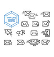 mail message line icon set for web app concept vector image