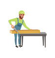 male carpenter in uniform cutting a wooden plank vector image vector image