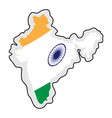 map of india with its flag vector image vector image