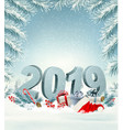 merry christmas background with 2019 and gift vector image vector image