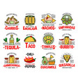 mexican fast food burrito nachos and tequila vector image vector image