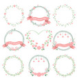 minimal valentines wreath in pastel color vector image