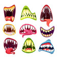 monster mouths with teeth and tongues cartoon set vector image