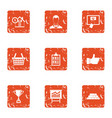 online loan icons set grunge style vector image
