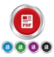 PDF file document icon Download pdf button vector image vector image