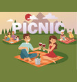 people on summer picnic young vector image